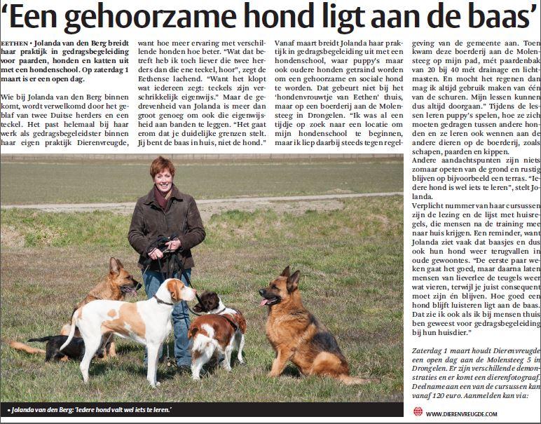 praktijk voor gedragsbegeleiding dieren in de krant